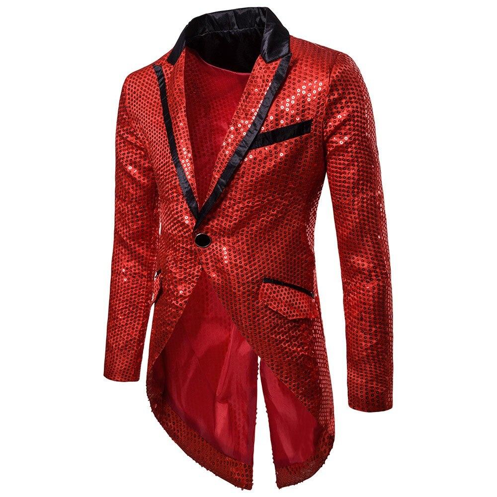 2020 Blazer Masculino Goocheer Men NightClub Stage Performances Singer Tuxedo Shiny Sequins Slim Glitter Blazers Suit Jacket