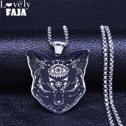 2021 Fashion Witchcraft Eyes Cat Stainless Steel Necklace for Women/Men Silver Color Statement Necklace Jewelry cadena N4080S02