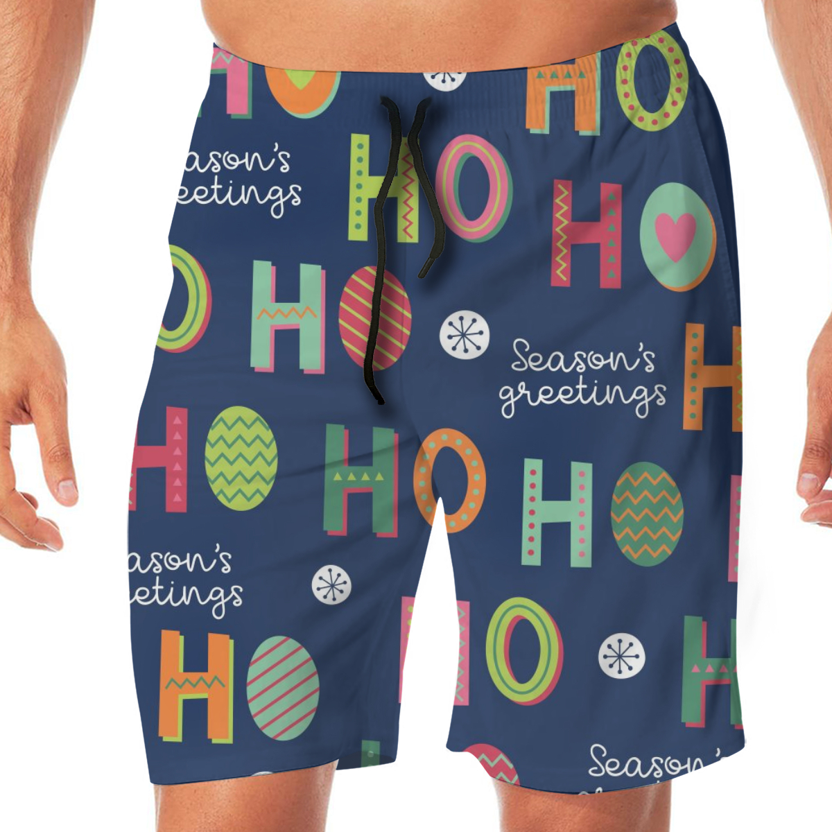 Men Casual Summer Hawaiian Beach Pants Half Trousers Colorful Hohoho Christmas Santa Claus Laugh.