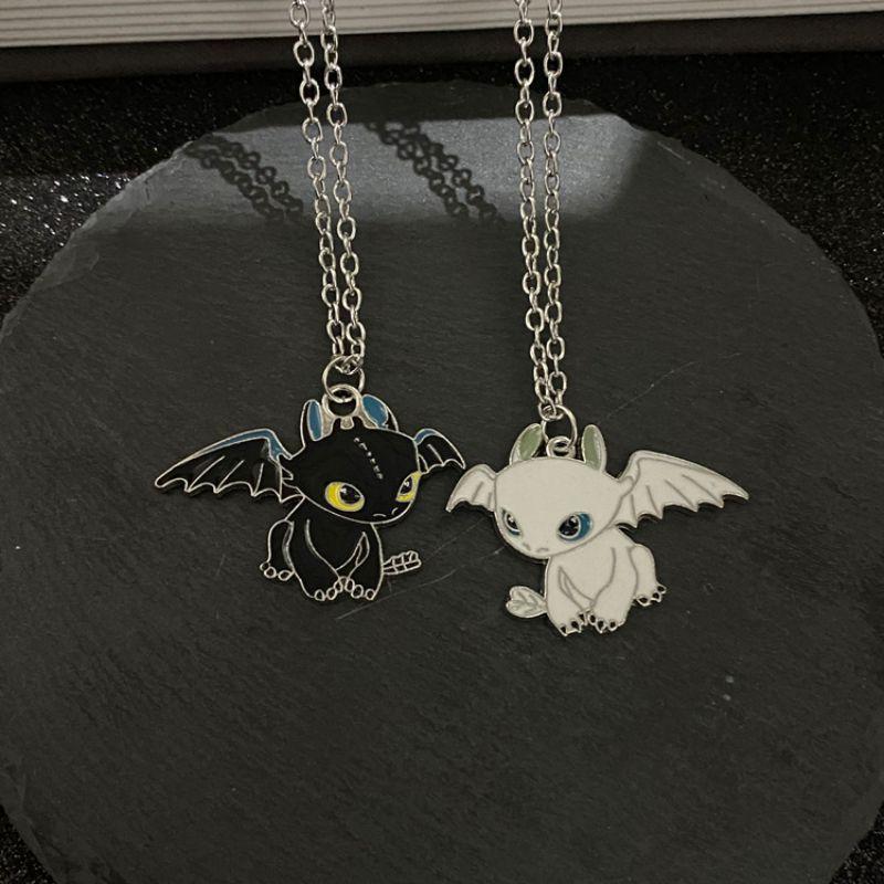 Модное мультяшное черно-белое ожерелье с двойным драконом ночного зла, индивидуальная парная подвеска в стиле хип-хоп, будуарное ожерелье с...