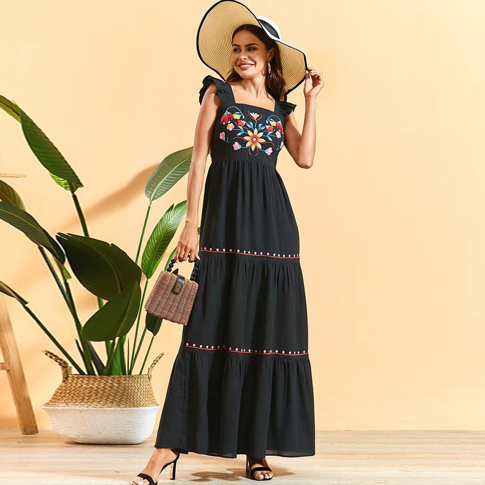 Siskakia Summer Dress Ruffles Pleated Patchwork Square Collar Sleeveless Backless Embroidered Maxi Dress Black High Waist Swing