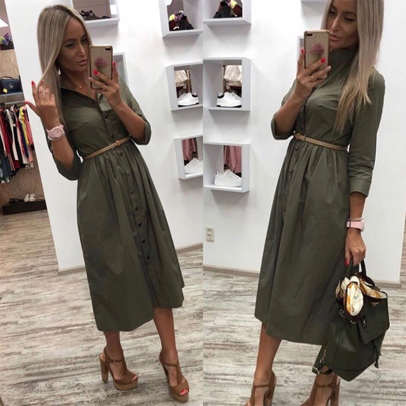 Women Casual Sashes a Line Party Dress Ladies Button Turn Down Collar OL Style Shirt Dress