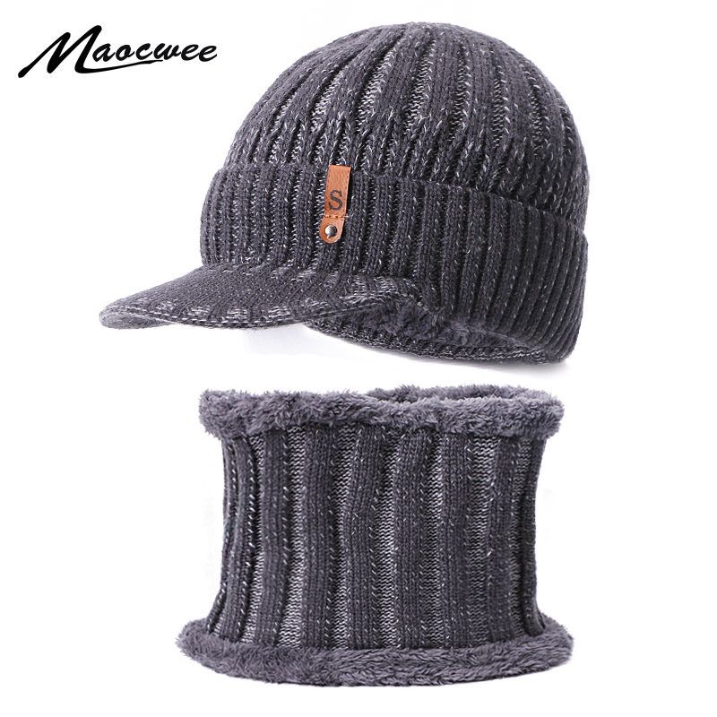 Two Pieces Scarf Hat Set Woman's Man Hats Beanie Hats Cap With Brim Unisex Keep Warm Winter Knitted Skullies Crochet Loose Soft