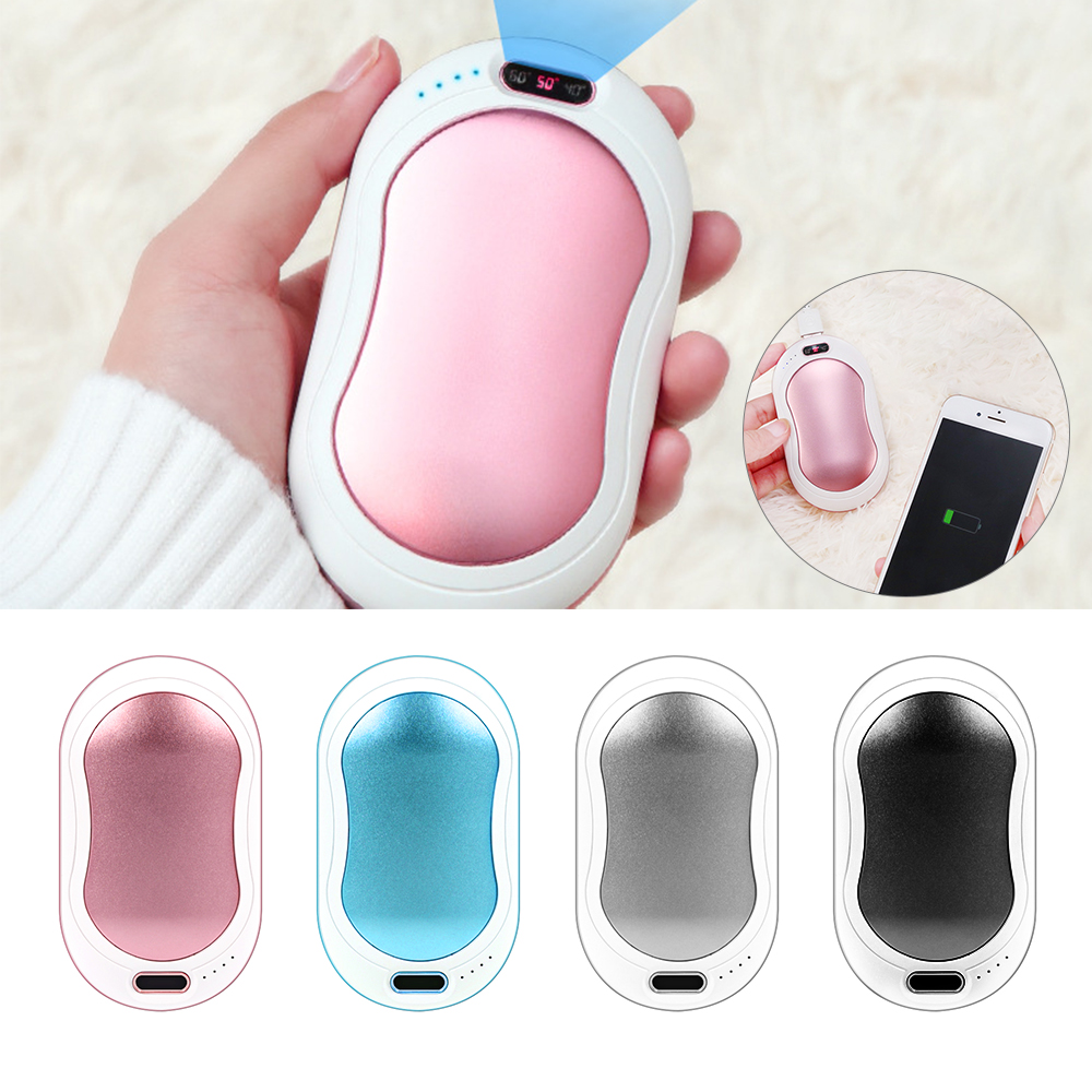 Rechargeable Electric Hand Warmer For Winter Double-sided Heating, 2-in-1 Long Life Power Bank Portable  Hand Warmer Power Bank
