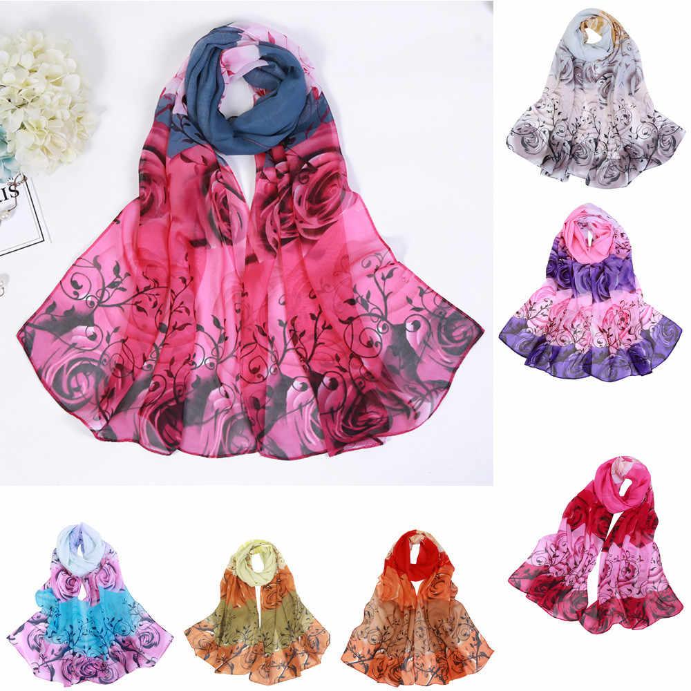 2019 fashion explosie modellen rose chiffon shawl sjaal vrouwen Soild dot print lange soft wrap sjaal dames sjaal шарф женски 50 *