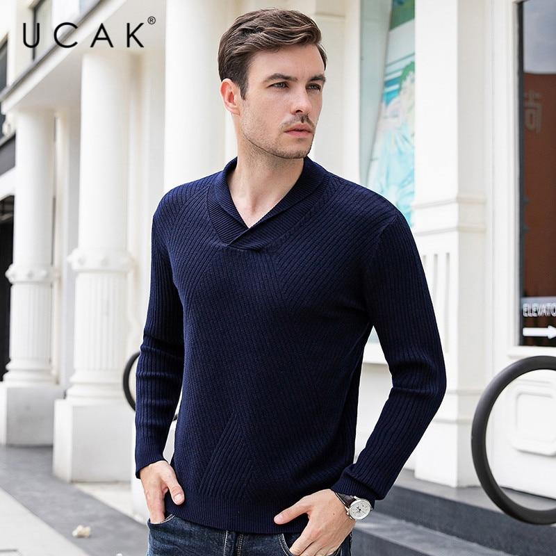 UCAK Brand Sweater Men 2019 Winter Autumn Fashion Trend V-Neck Pull Homme Casual Streetwear Striped Tops Pullovers Knit U1026