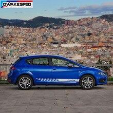 Autocollants de décoration de carrosserie, rayures des deux côtés de course pour Seat Leon FR TGI ST SC TSI Cupra, jupe de porte de voiture, style sportif