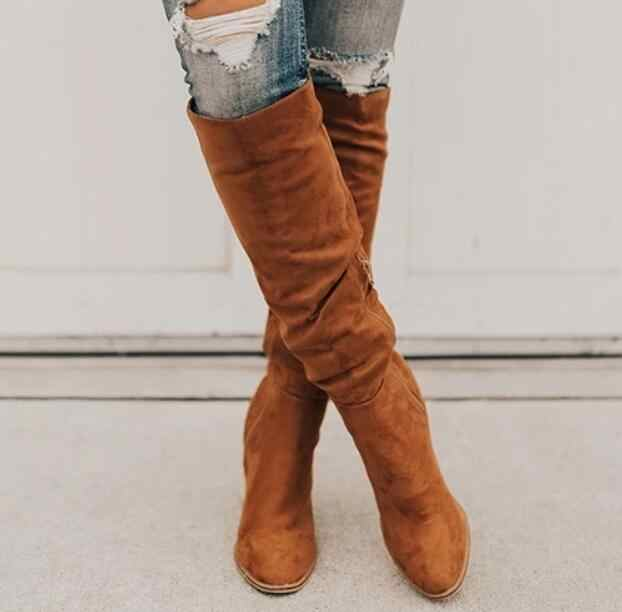 Women Over-the-Knee boots 2019 Newest autumn winter ladies suede Pointed side zip party long boots high heels shoes woman W055
