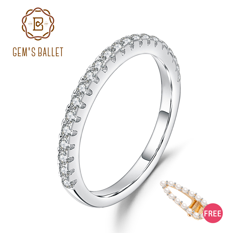 GEM'S BALLET Luxe 925 Sterling Silver Classic Wedding Band Ballad Moissanite Ring For Women Fine Jewelry 0.015Ct 1.5mm EF Color
