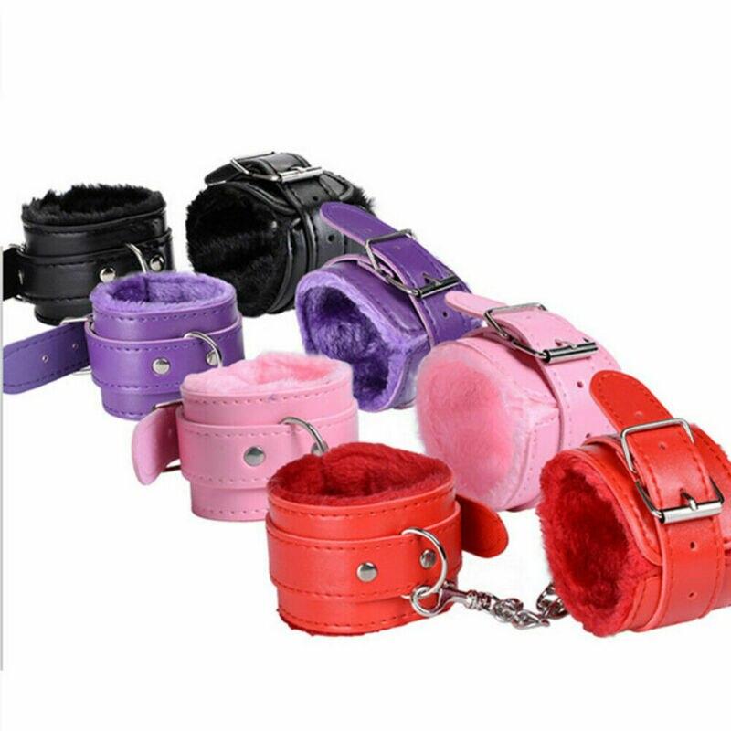 4 Colors Plush PU Leather Slave Wrist /& Ankle Handcuffs Hand Restraints cuffs