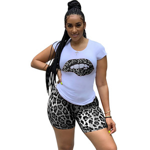 Image 2 - ZOOEFFBB Plus Size Two Piece Set Tracksuit Lips Short Sleeve Top+Leopard Shorts Festival Matching Sets 2 Piece Outfits for Women