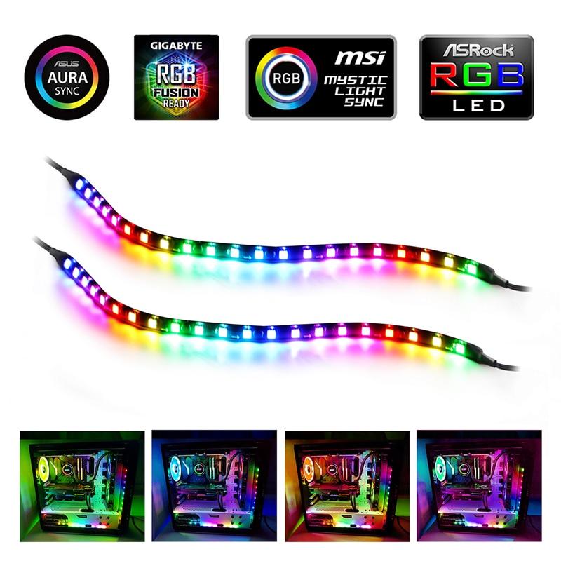 Bandes lumineuses de LED RGB, 2 paquets pour le contrôle de la carte mère/PC, Kits de bandes de coque d'ordinateur magnétiques avec en-tête RGB 5V 3 broches