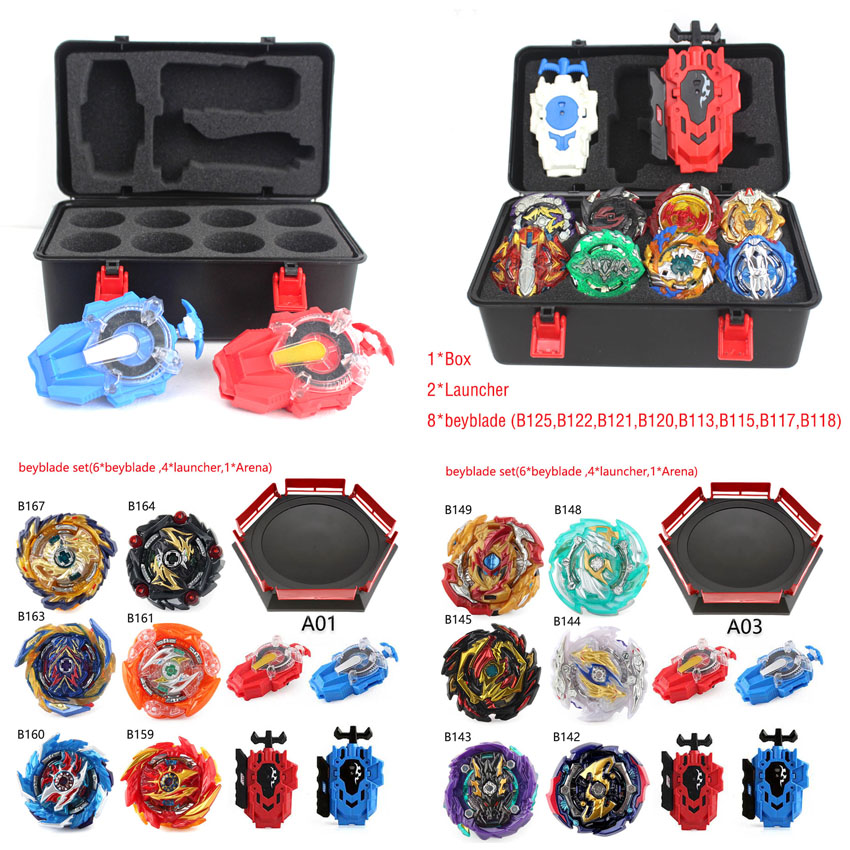 New Tops Set Launchers Beyblade Toys Toupie Metal God Burst Bey Blade Blades Toy bay blade bables B167 B164 With Spark Launcher
