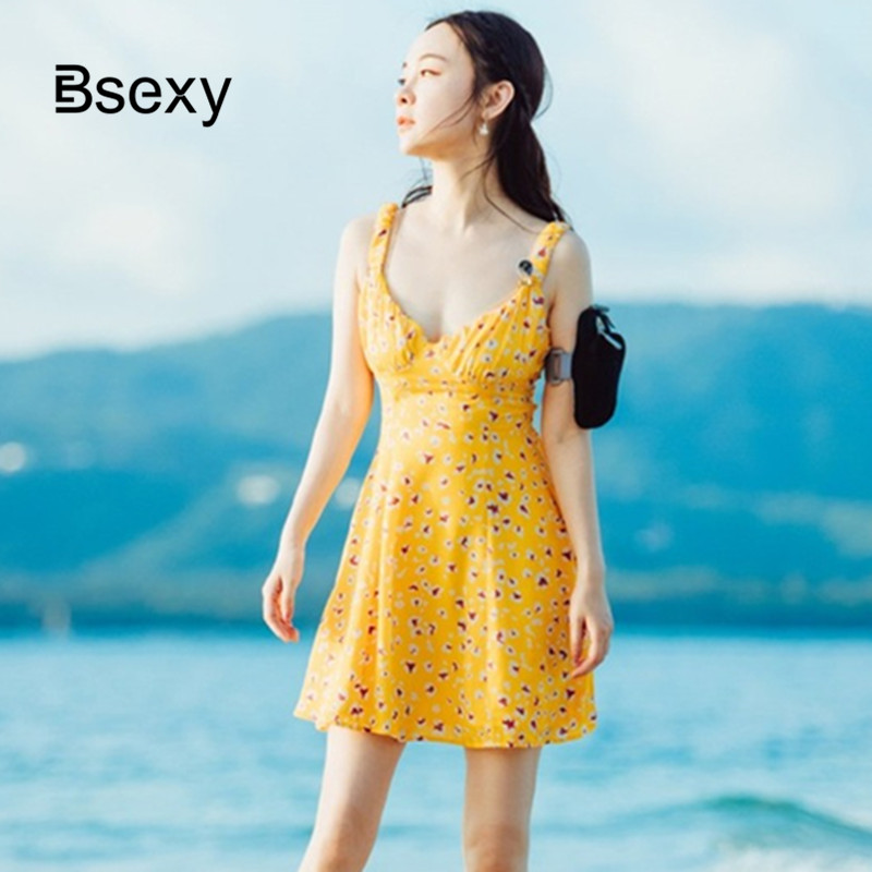 Sexy Boho Dress Women 2020 Summer V neck Floral Printed Backless Spaghetti Strap Yellow Mini Dress Holiday Beach Dress image