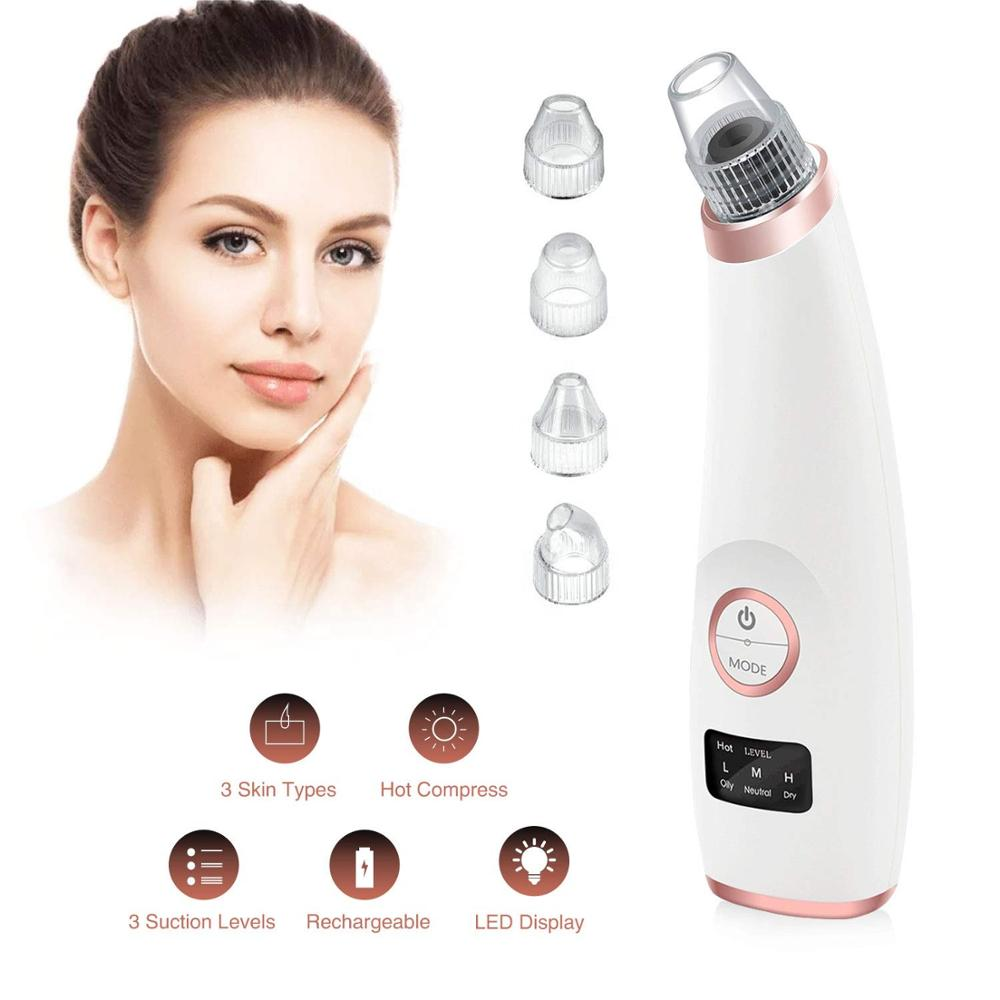 Suction Blackhead Remover Vacuum Nose Cleaner With Hot Compress Beauty Acne Removal Tools Face Deep Pore Cleaner Skin Care Tools