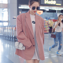Suit Coat Women 2019 Autumn New Pink Plaid Loose Suit Women Notched Double Breasted Laid Women Fashion Jackets and Coats Suit