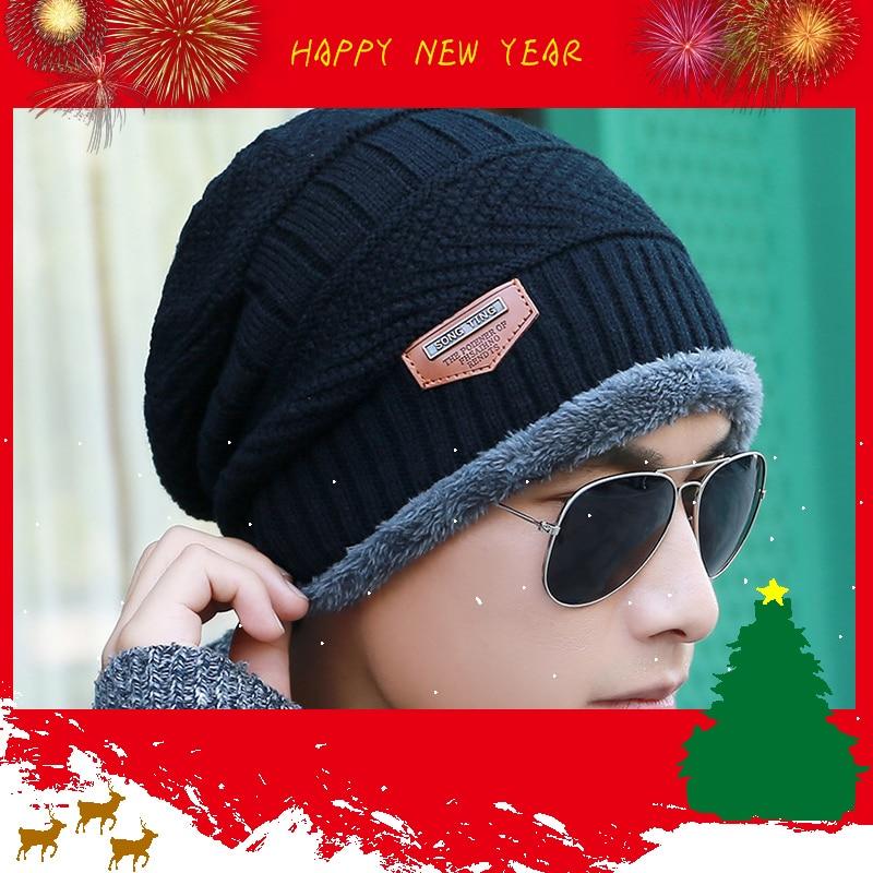 Wholesale Skullies Beanie Autumn Winter Men's Flawless Wool Hat Plus Velvet Wild Dome Knit Hat Outdoor Ski Warm Headgear Hat