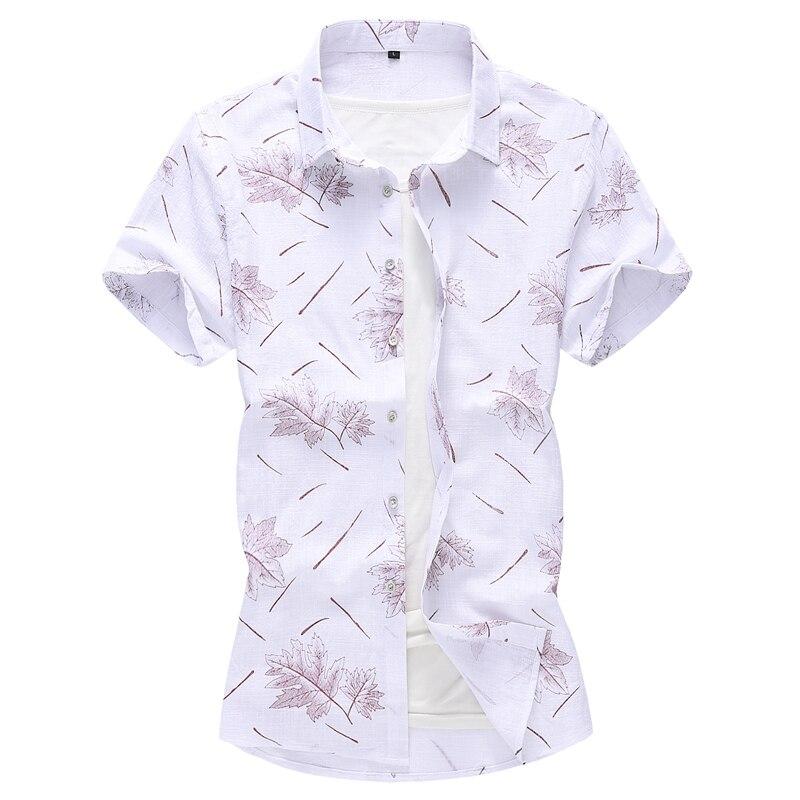 Maple leaves pattern 3d print fashion streetwear short sleeve shirt Summe quality Cotton Linen plus size luxury men shirt  M-7XL