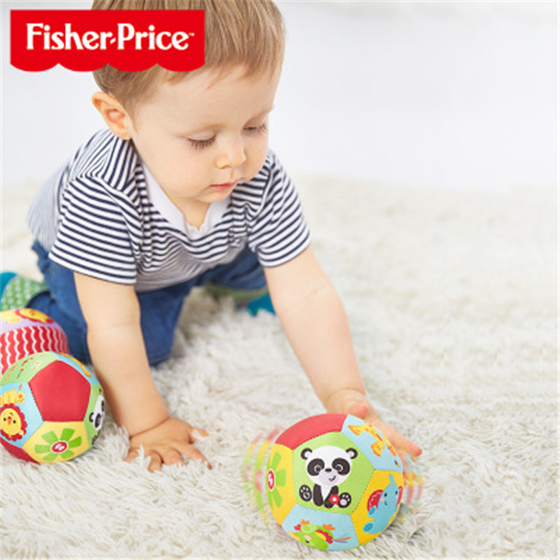 Fisher Baby Toys Children's Animal Cognitive Ball Soft Plush Mobile Toy With Sound Baby Rattle Baby Fitness Ball Toy 0-12 Months