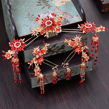HIMSTORY Retro Chinese Bride Headdress costume Red Flower Long Tassel Hairwear Hairpins Photography Stage Show Hair Accessories