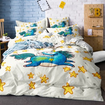 Unicorn Bedding Set Kids Girls Yellow Stars Duvet Cover Set Dreamy Cartoon Bed Linen Set with Pillowcase Twin Full Queen King