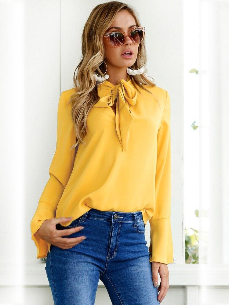 HIRIRI Womens Stylish Ribbons Printed Slash Neck Knotted Flare Sleeve T-Shirt Half Short Loose Tops