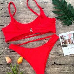 Сексуальный комплект бикини для женщин, Одноцветный бандаж, бикини, полый купальник, летний купальник с высоким вырезом, топ-труба, купальны... 5