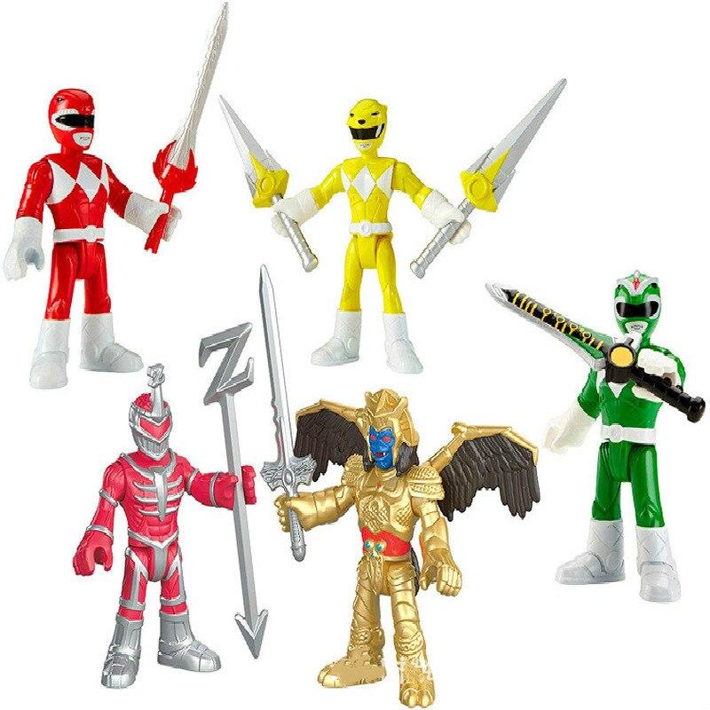 5pcs/set Extraordinary Team Power Ranger Toy Dinosaur Team Mech Children's Collection Gift Figure Model Ornaments