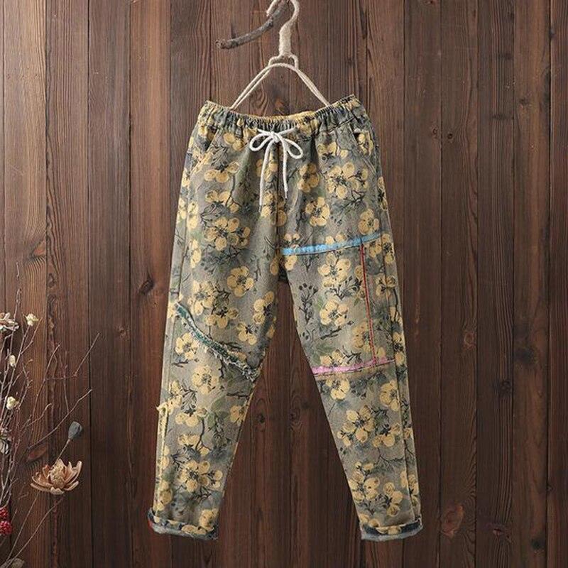 Spring Autumn Arts Style Women Elastic Waist Loose Casual Harem Pants Print Painted Vintage Cotton Denim Jeans Plus Size D542