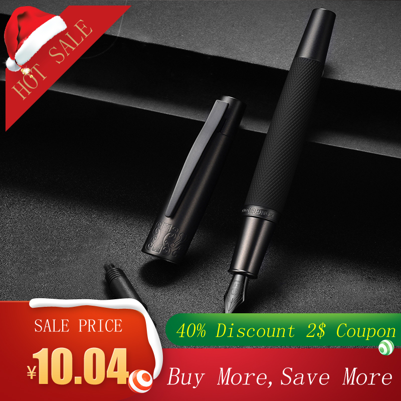 Fountain Pen Ink Full Metal Clip Pens HongDian Stainless Steel Black Army General Fountain-Pen Nib 0.4mm 0.5mm Office Supplies