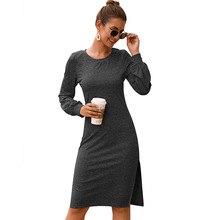 2019 Sexy Party Dress Vestido Long Sleeve High Side Split Bodycon Midi Dress Women Fashion O-Neck Slim Black Elegant Dress Women недорого