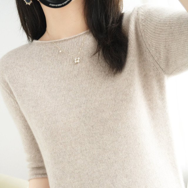 women's sweater short sleeves solid curling o-neck knitted top short stylish casual pullover jumper elastic jacket sweater 5