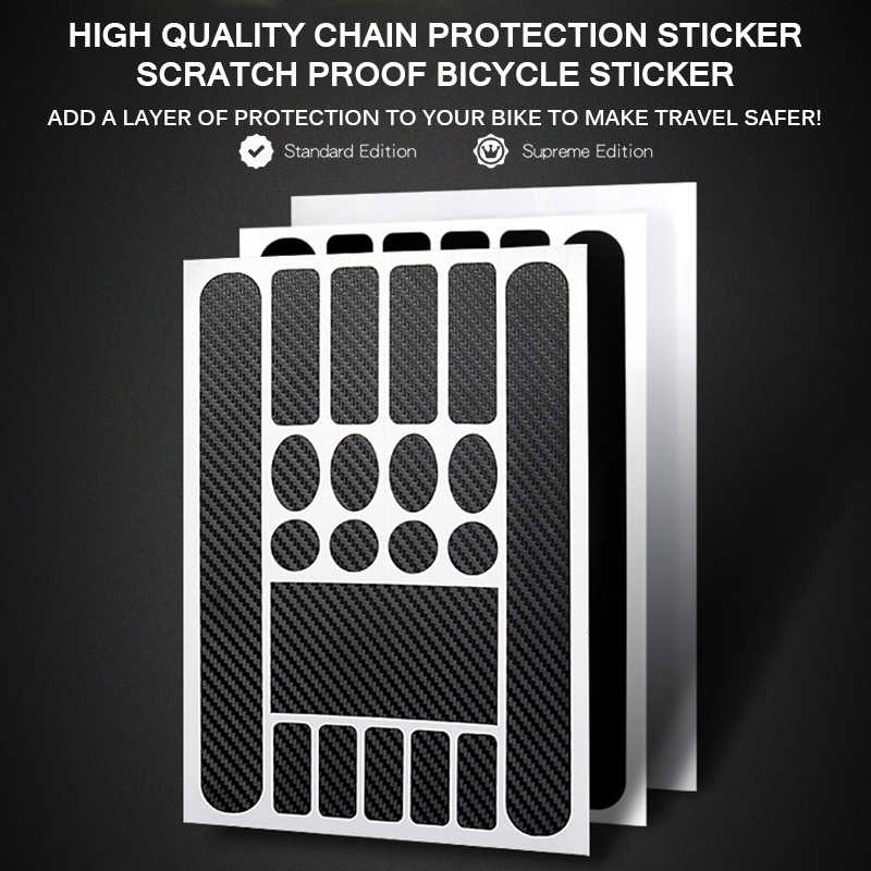 Fiets Anti Scratch Sheet Carbon Fiber Textuur Cycling Bike Frame Protector MTB Fietsketting Zwart Transparante Stickers