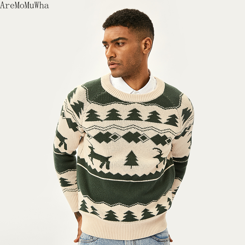 AreMoMuWha 2019 Winter New Retro Knit Sweater Nordic Iceland Wind Vintage Sweater Raglan Sleeves Slim Sweater Deer Mens QX1365