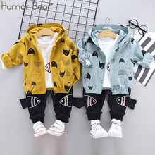 Humor Bär 2019 Frühling Herbst Hohe Qualität Baby Jungen Kleidung Anzug Aktive Casual Kind Set Kinder Kleidung Mantel + T Shirt + hose 3Pcs