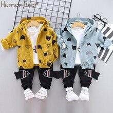 Humor niedźwiedź 2019 wiosna jesień wysokiej jakości Baby Boy odzież garnitur aktywny Casual Kid zestaw dzieci ubrania płaszcz + T Shirt + spodnie 3 sztuk