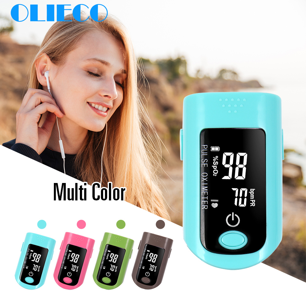 OLIECO 5S Auto Shutoff Pulse Rate Oximeter Mini SPO2 PR Blood Oxygen Saturation Meter 2 Display Direction LED Screen CE 4 Color