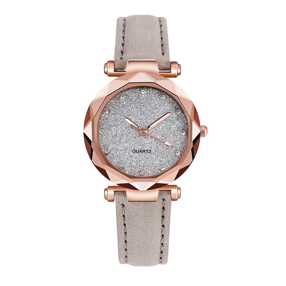 Hot Sale Watches Woman Luxury Glass Gemstone Starry Sky Clock Fashion Ladies Quartz Wristwatch Soild Color Leather Gift Watch@40