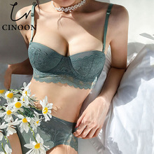 CINOON New Women underwear Set Lace Sexy Push-up Bra And Panty Sets Comfortable Brassiere Adjustable Straps Gathered Lingerie