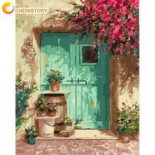 CHENISTORY-Cuadro al óleo pintado a mano por números, puerta azul con flor, pintura acrílica, Color sobre lienzo, pintura para pared del hogar