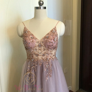 Image 3 - Pink Formal Party A Line Split Prom Dresses 2020 Blue Beaded Crystal Sleeveless Spaghetti Straps vestidos de gala Evening Gowns