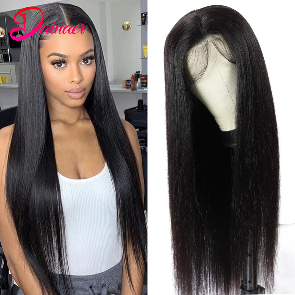 Peruvian Human Hair Wigs Straight 4x4 Lace Closure Wig Remy Lace Frontal Wigs 13X4 For Black Women 180 Density Dainaer Hair