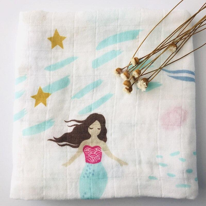 Детское бамбуковое одеяло из органического хлопка для новорожденных, муслиновое Пеленальное полотенце для кормления - Цвет: mermaid bamboo