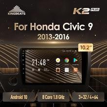 KingBeats Android 10 octa-core tête unité HU 4G en tableau de bord autoradio multimédia lecteur vidéo Navigation GPS pour Honda Civic 9 2013 - 2016 pas de dvd 2 din Double Din Android autoradio 2din