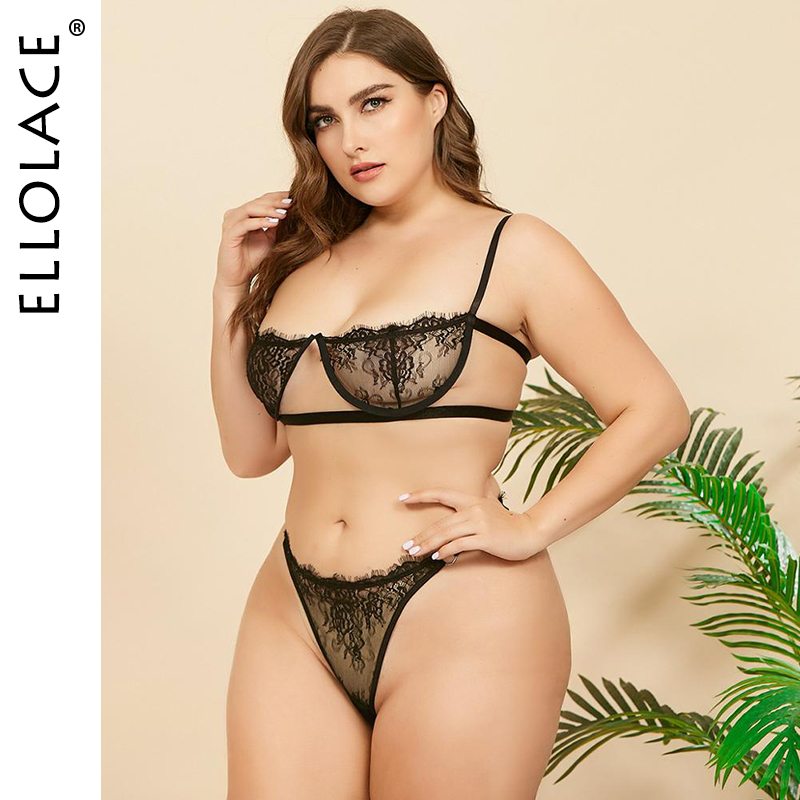 Ellolace Plus Size Lingerie Underwear Set Women Wholesale Lace See Through Bra And Thong Female Bodycon Sexy Lingeries 2020 New