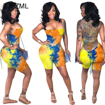 Female Sexy Strapless Off Shoulder Rompers Criss Cross Drawstring Bodysuits Backless Tie Dyeing Printed One Piece Short Overalls criss cross faux suede open shoulder dress