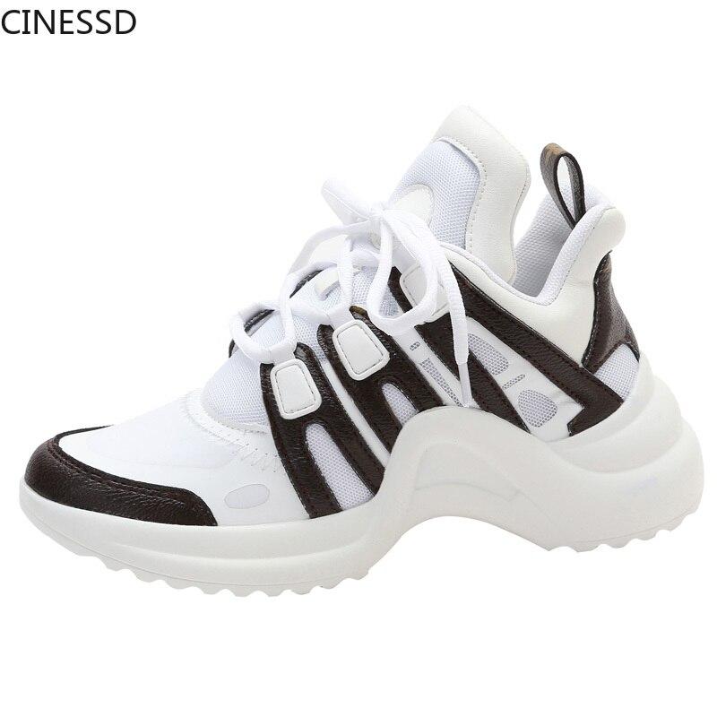 Zapatillas de deporte vulcanizadas con forma arqueada y plataforma, zapatillas de deporte para mujer con cordones de colores mezclados de malla transpirable en altura, zapatos para mujer SANDALIAS ARMONIAS PLATAFORMA