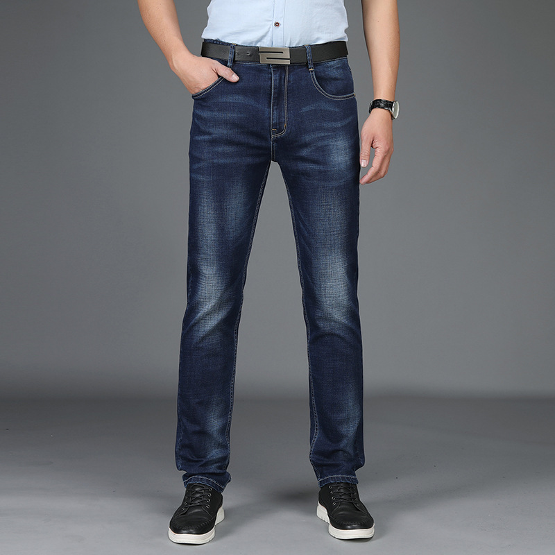 Four Seasons Men's Casual Pants Stretch Denim Trousers Men-Style Business Thin Casual Pants Slim Fit Straight-Cut MEN'S Trousers