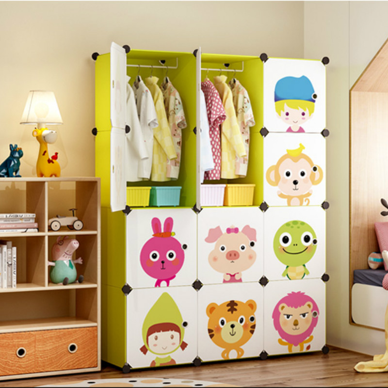 Children's Simple Wardrobe Cloth Baby Children Plastic Assembly Baby Economic Wardrobe Cartoon Storage