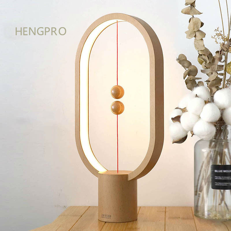 2020 Upgrade HENGPRO Balance Night Light Portable Ellipse Magnetic Mid-air Switch LED Desk Lamp Touch Dimming Home Decor